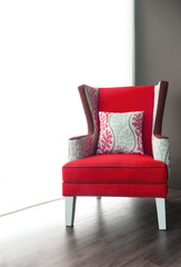Modern red fabric armchair