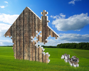 House consisting of puzzles on the meadow