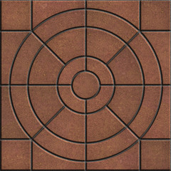 Brown Pavement Slabs in the Form of Circles.