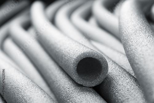 Leinwanddruck Bild Insulation for pipes closeup
