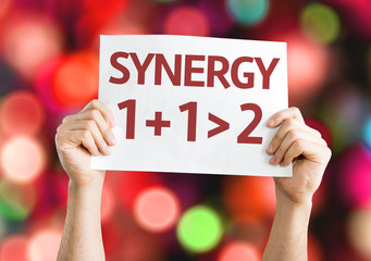 Synergy 1+1>2 card with colorful background