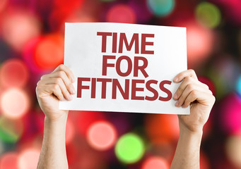 Time for Fitness card with colorful background