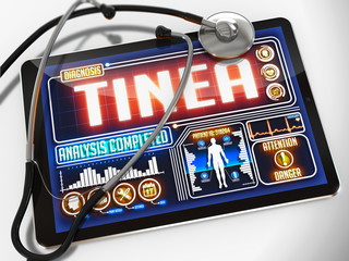 Tinea on the Display of Medical Tablet.