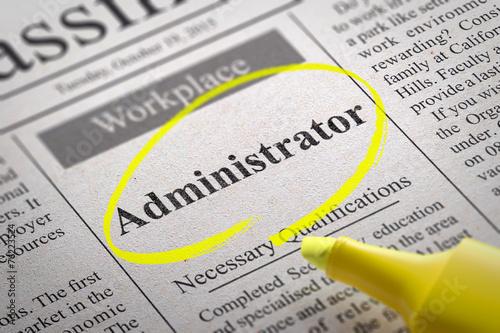 Leinwandbild Motiv Administrator Jobs in Newspaper.