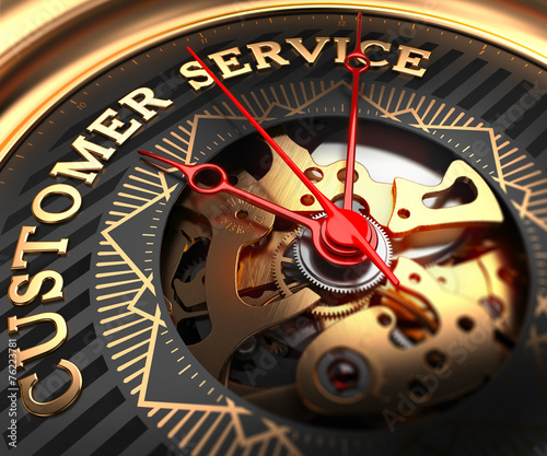 Customer Service on Black-Golden Watch Face. - 76223781
