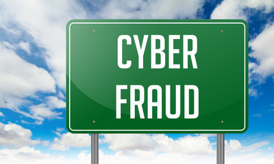 Cyber Fraud on Highway Signpost.
