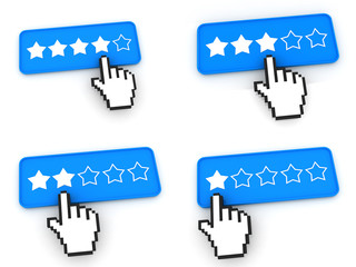 Ranking Concept - Web Buttons with Hand Cursor.