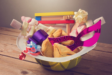 Purim holiday gifts with hamantaschen cookies