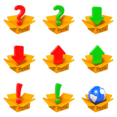 Cartoon Box with Question Mark. Isolated on White.
