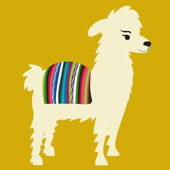 Llama with colorful cape