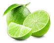 Leinwandbild Motiv Lime with slice and leaf isolated on white background