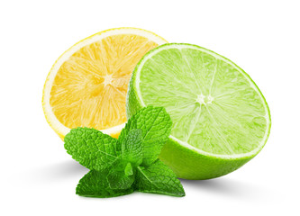 half of lime and lemon with mint leaves isolated on the white ba
