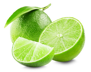 Lime with slice and leaf isolated on white background © yurakp
