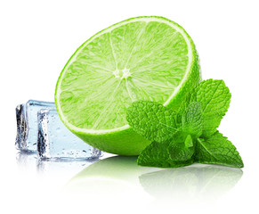 lime slice with mint leaves and ice cubes isolated on the white