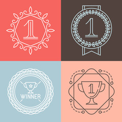 Vector line gamification icons and badges