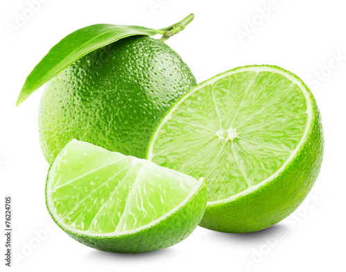 Fotobehang Vruchten Lime with slice and leaf isolated on white background