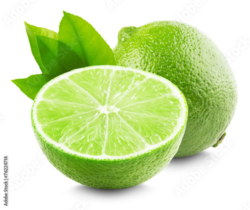 Lime with slice and leaf isolated on white background - 76224714