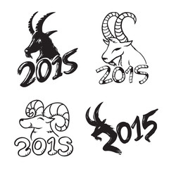 Illustration Set of Chinese 2015 New Year Goat