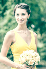 Retro Photo Of Young Maid Of Honor Portrait At Wedding