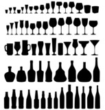 Glass, bottle silhouette set. Different drinks isolated