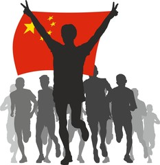 Winner with the China flag at the finish