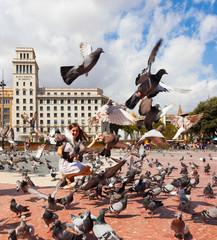 Doves at Catalonia Square in Barcelona