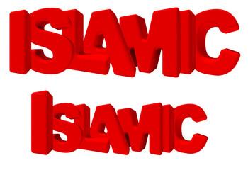 Islamic islam parola 3d rossa, isolata su fondo bianco