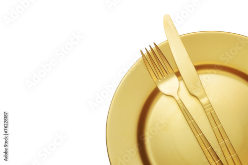 Golden knife and fork with plate - 76228187