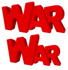 war guerra parola 3d rossa, isolata su fondo bianco
