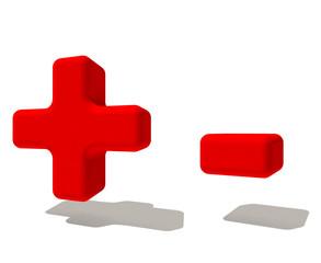 - + più e meno simbolo 3d rossa, isolato su fondo bianco