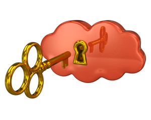 Golden key and orange cloud keyhole