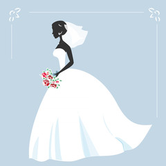Illustration of a beautiful bride holding a bouquet