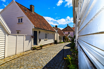 White houses with old tiled roof