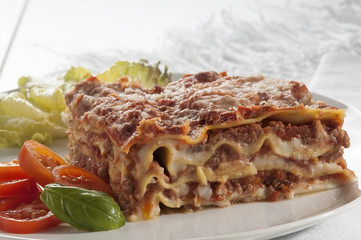 Close-up of a traditional lasagna