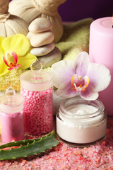 Spa treatments with orchid flower, close-up