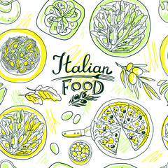 beautiful hand-draw simpless pattern italian food © bagira_87