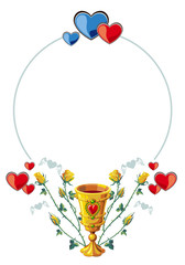 round frame with golden goblet and hearts