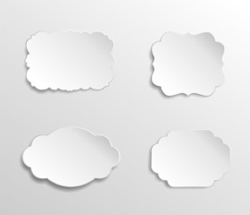 Blank white paper labels