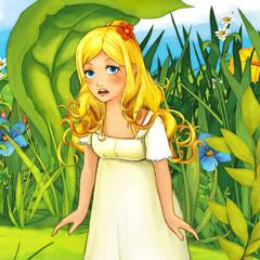 Cartoon fairy tale scene - illustration for the children