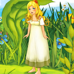 Cartoon fairy tale scene - illustration for the children