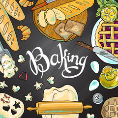 beautiful hand-draw illustration baking