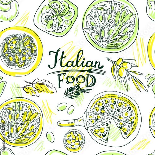 beautiful hand-draw simpless pattern italian food © bagira_87
