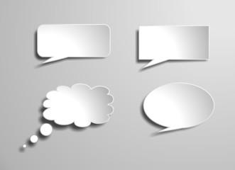 Blank paper dialogue bubbles