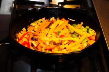 Black Iron Skillet Pan Cooking Fajita Vegetables