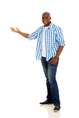 african american man doing welcome gesture