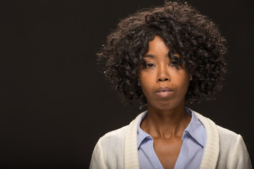 Young African American black woman serious angry face