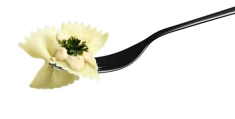 fork pasta farfalle  pink sauce shrimp, parsley