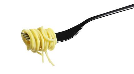 fork pasta spaghetti isolated on white background