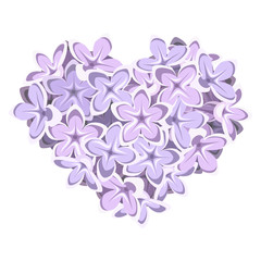 Heart of lilac flowers. Vector illustration.
