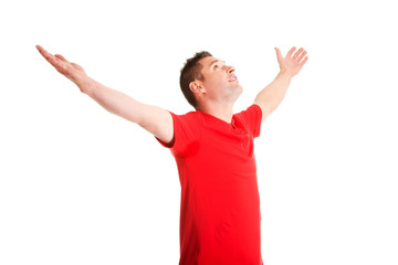 Happy man with outstretched arms.